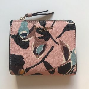 Kate Spade Small pink floral Bifold wallet NEW